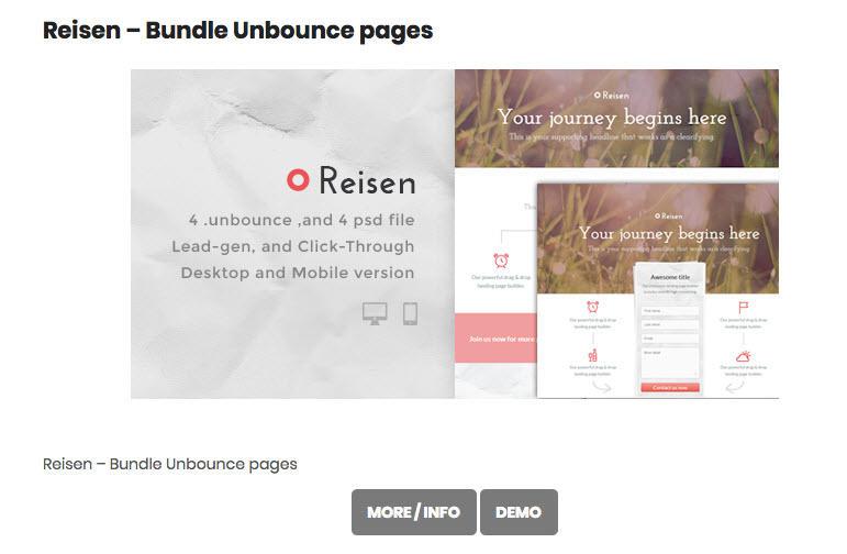 Plantillas de página de aterrizaje gratuitas Unbounce Reisen bundle