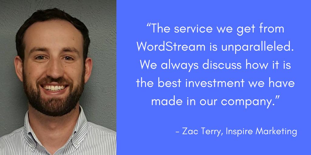 zac terry inspira servicios gestionados de marketing de wordstream