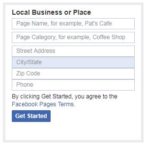 inicialización de información comercial de facebook