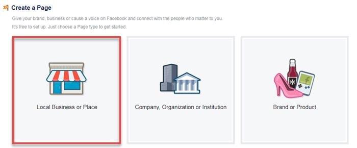 Facebook local de negocios o creación de página de lugar