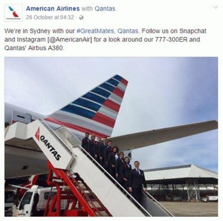 Combine PPC con las redes sociales Tuit de American Airlines Qantas