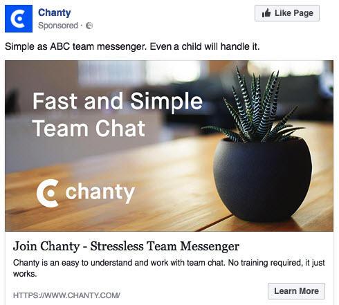 Anuncios de Facebook para empresas SaaS mal ejemplo