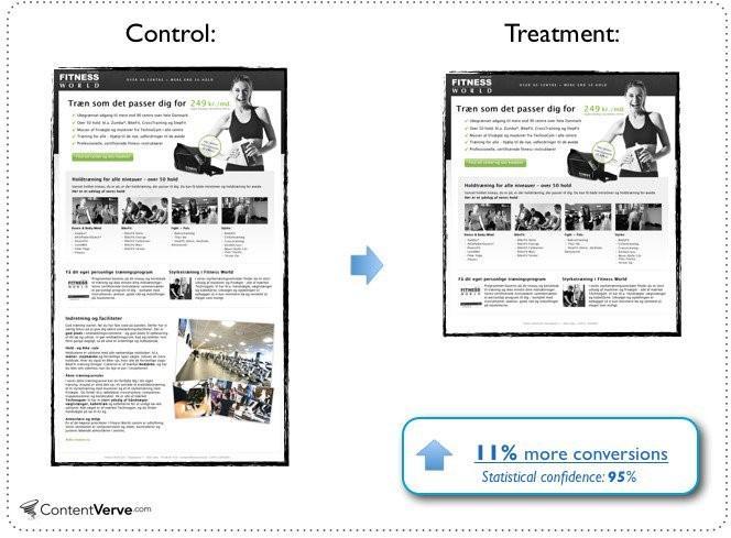 Diseños de páginas de aterrizaje Ejemplo de prueba A / B