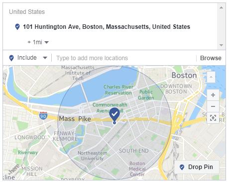 radio de segmentación de una milla de anuncios de Facebook