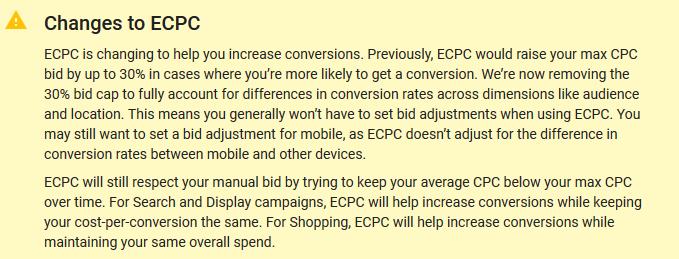 cambios a las ofertas de CPC mejoradas AdWords 2017