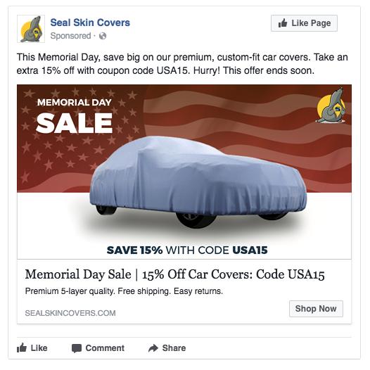 anuncio de facebook de venta de vacaciones