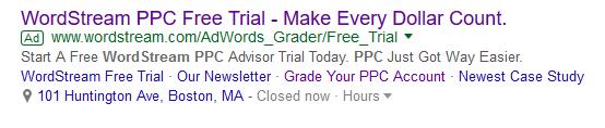 extensiones de AdWords en el ejemplo de anuncios