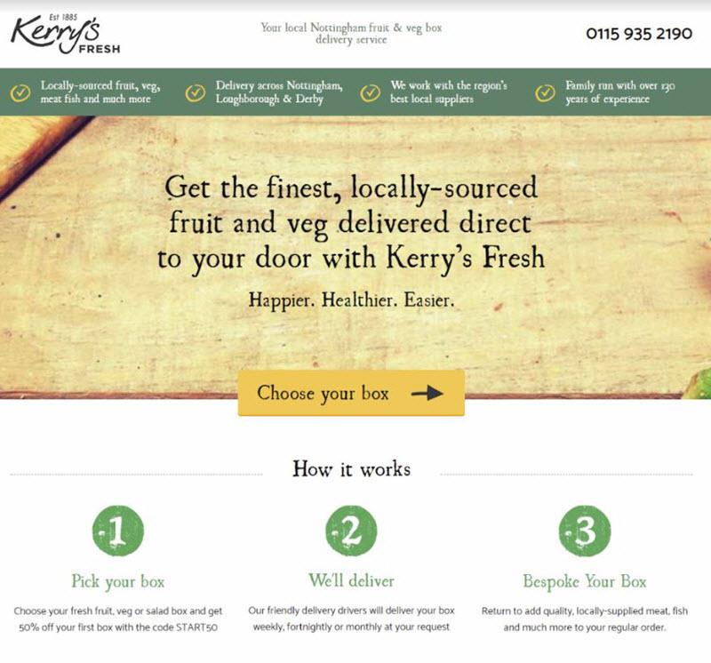 página de inicio de pequeñas empresas locales