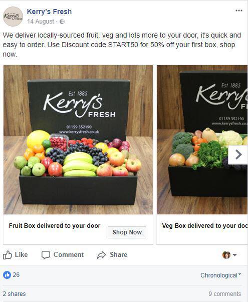 anuncios de facebook kerry's fresh