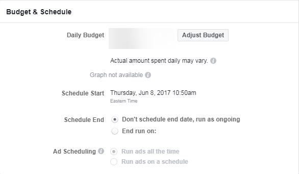 captura de pantalla de presupuesto de revisión de anuncios de Facebook