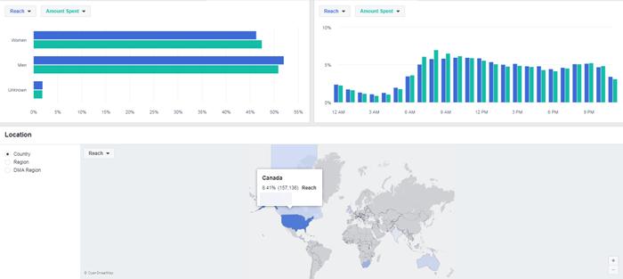 ficha de descripción general del administrador de anuncios de Facebook género edad región datos