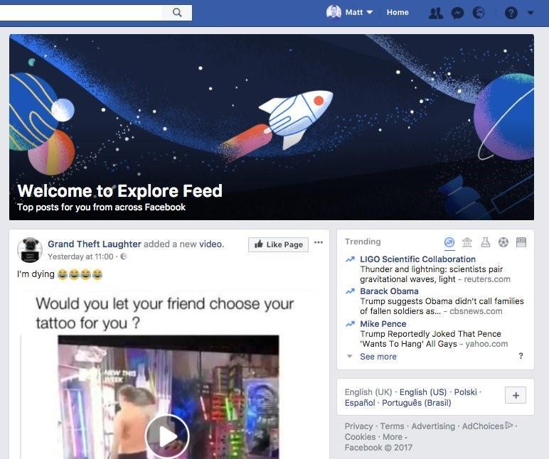 pestaña explorar de facebook