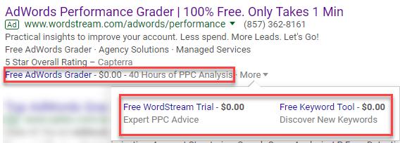 extensión de precio de cero dólares google adwords