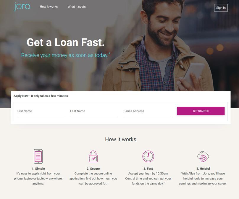 Sitio web de Jora Credit