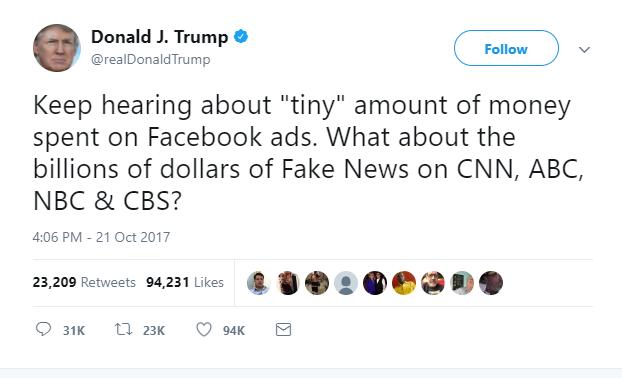 anuncio de Facebook dirigido a noticias falsas