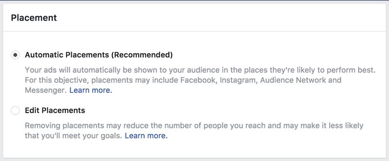 Opciones de colocación de anuncios de Facebook automática vs editar