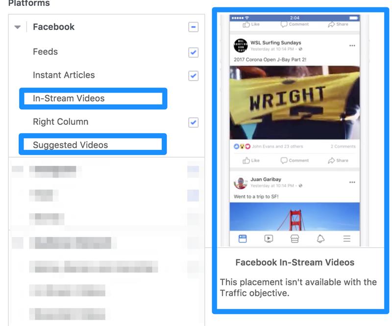 optimización de la colocación de anuncios de Facebook para anuncios de video in stream