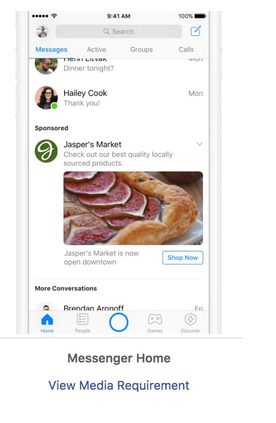 colocación de anuncios de Facebook Messenger