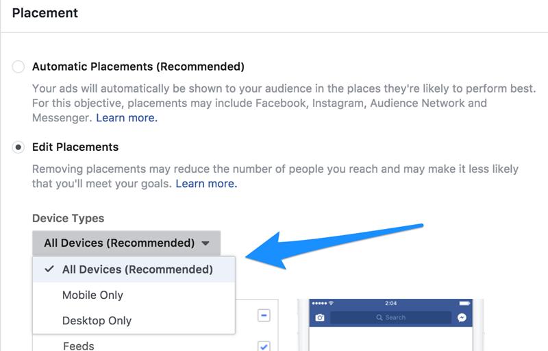 editar la colocación de anuncios de facebook