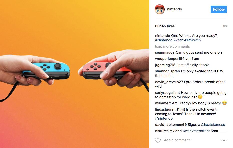 Las mejores campañas de marketing de Instagram de Nintendo Switch 2017