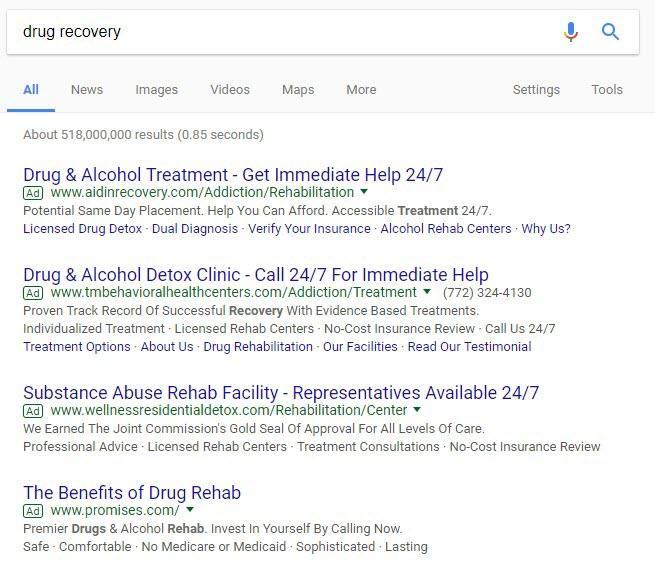 búsquedas de rehabilitación de anuncios de google