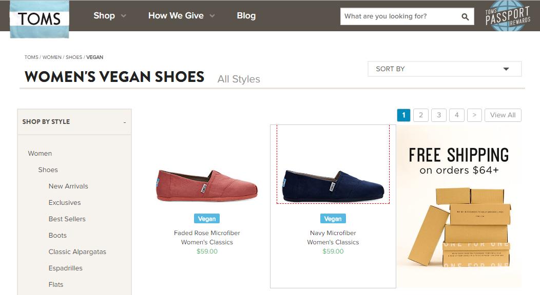 Zapatos éticos de marketing TOMS