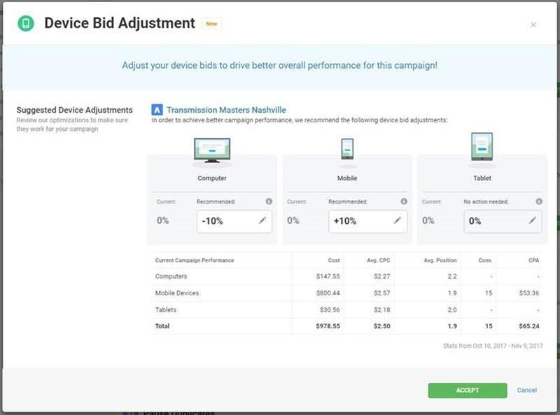 ajustes de la oferta del dispositivo en Wordstream