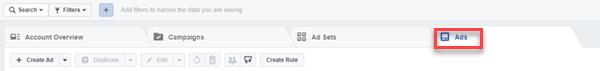 ubicación de la pestaña de anuncios del administrador de anuncios de Facebook