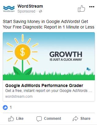 ejemplo de un anuncio de Facebook con una gran puntuación de relevancia