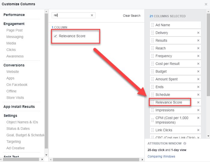 administrador de anuncios de Facebook que crea una vista personalizada para el puntaje de relevancia y los comentarios esperados
