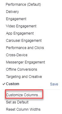 administrador de anuncios de Facebook personalizar columnas