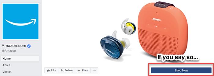 botón de comprar ahora de la página comercial de Facebook