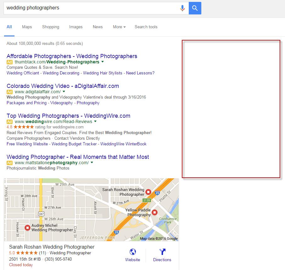 no hay anuncios de google adwords en el carril derecho