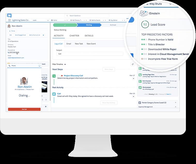 Aprendizaje automático de la tecnología de inteligencia artificial Salesforce Einstein