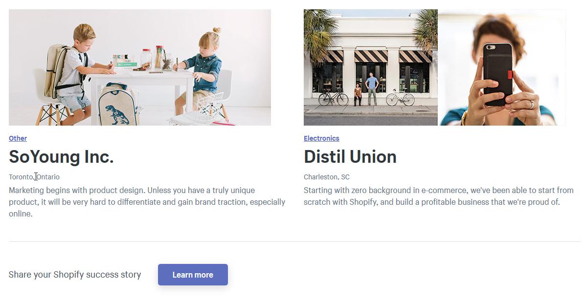 Páginas de testimonios de clientes Shopify