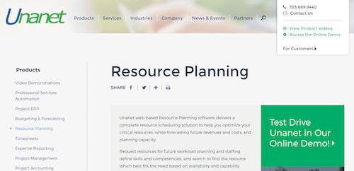Unanet Resource Planningf