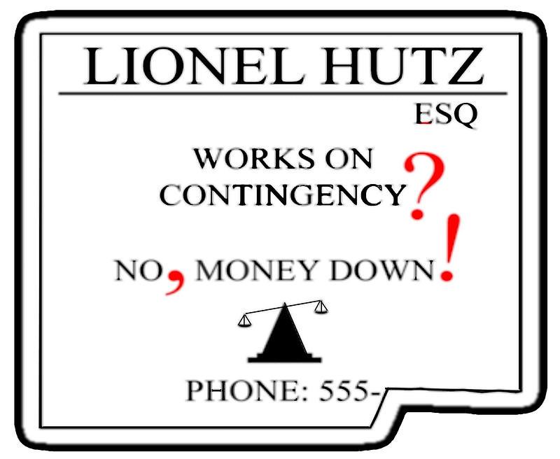 Guía del profesional independiente sobre impuestos Tarjeta de presentación del abogado Lionel Hutz de Simpsons
