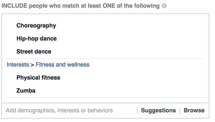 interés de Facebook dirigido a la actividad de bienestar