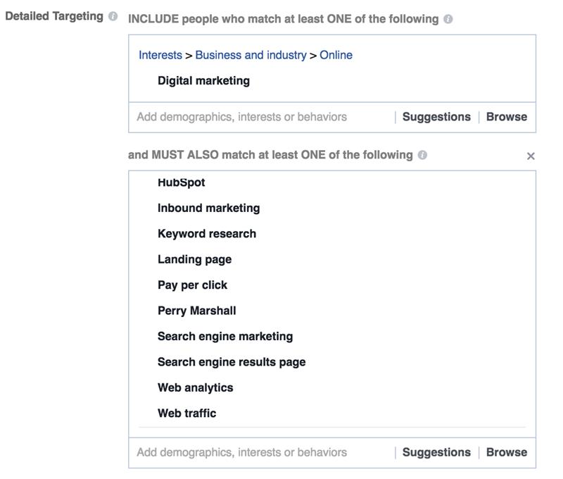 interés en Facebook dirigido al marketing digital
