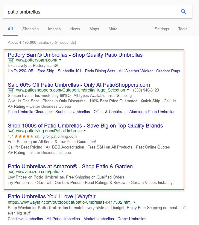 Ejemplo de costos de publicidad en línea de Google SERP