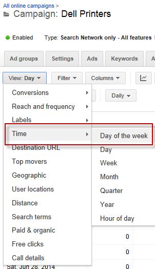 Costos de publicidad en línea que ajustan la configuración de la distribución diaria Google AdWords