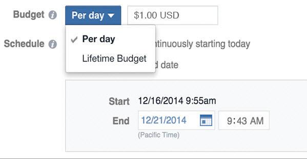 La publicidad en línea cuesta el presupuesto de anuncios de Facebook por día