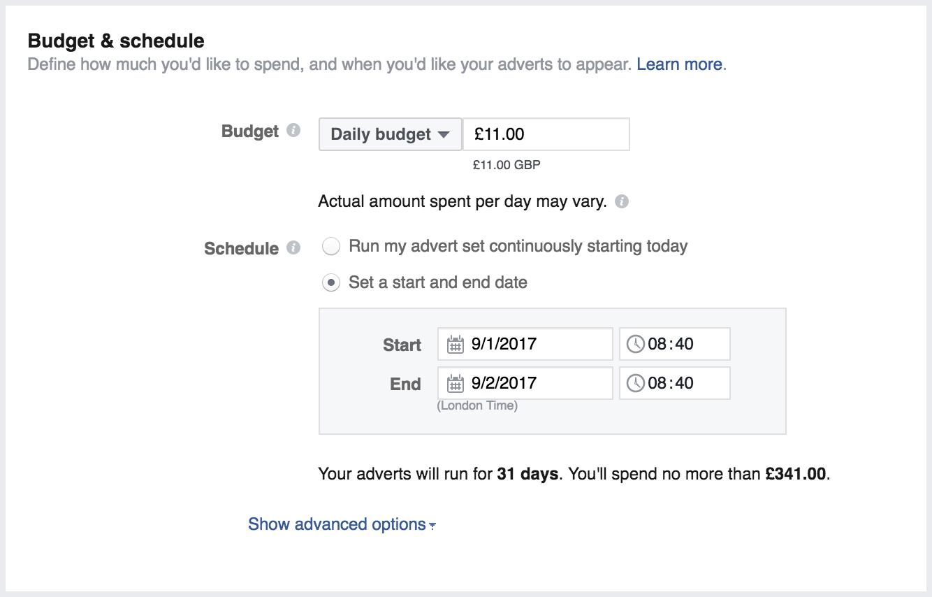 La publicidad en línea cuesta la configuración del presupuesto diario de los anuncios de Facebook