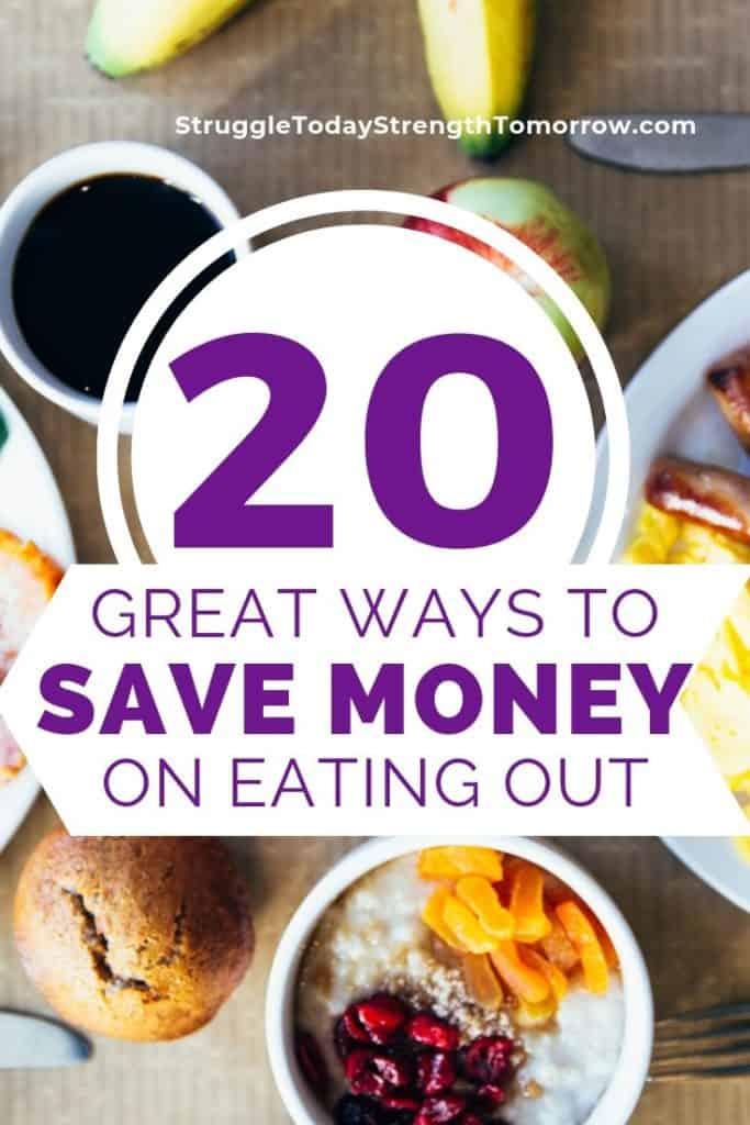 ¿Estás tratando de comer fuera de presupuesto? Queriendo disfrutar de un simple regalo de una comida no casera sin los platos posteriores. Haga clic para ver 20 excelentes maneras de ahorrar dinero en comer fuera. # presupuesto #savingmoney #frugal #pennypinching #restaurant #eatingout
