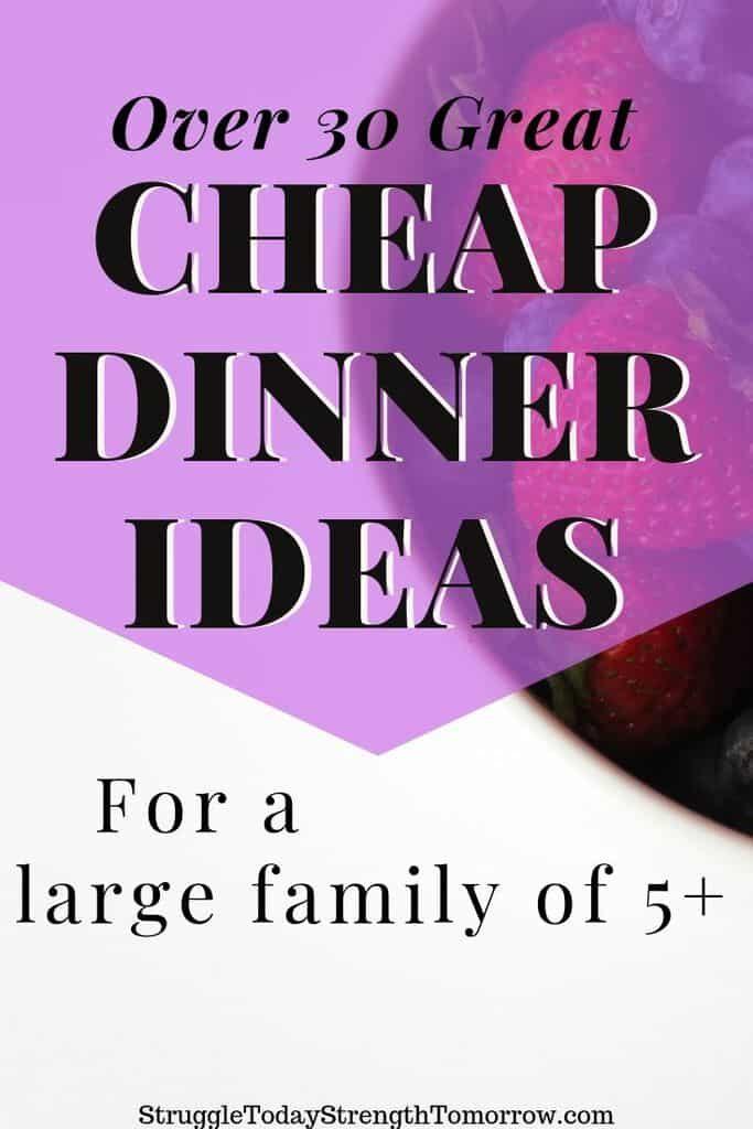 Cenas baratas y sucias para una familia numerosa de 5 o más. Con más de 31 ideas de comidas asequibles, puede reducir su presupuesto de alimentos. ¡Haga clic para ver todas las diferentes ideas! #frugalmeals #CheapDinners #CheapRecipes #BudgetMeals #LowCostMeals #FamilyDinners #Healthy #Simple #Fast #KidFriendly