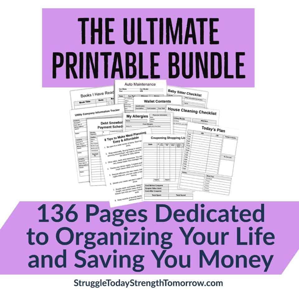 El paquete imprimible definitivo de 136 páginas dedicado a organizar su vida y ahorrarle dinero.