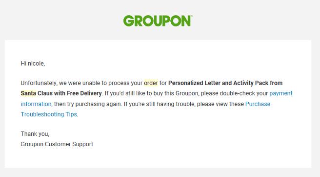 Quería comprar un Groupon por una carta increíble de Santa pero no funcionó.