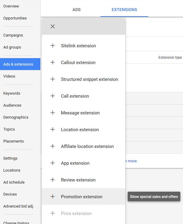 nuevas extensiones de promoción de experiencia de AdWords