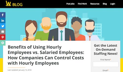Use empleados por hora en lugar de empleados asalariados