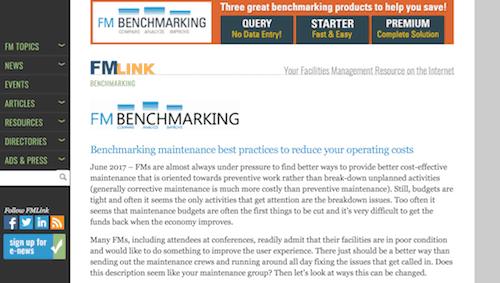 Use maintenance benchmarking